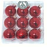 Christbaumkugeln Weihnachtskugeln GLAS SET Baumschmuck Weihnachten glänzend matt (9 Stück; 40 mm rot)