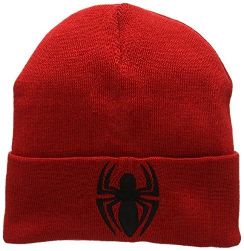 Preisvergleich Produktbild Marvel Comics - Spiderman Logo Beanie - Strickmütze - Wollmütze - Wintermütze - bestickt - rot - Lizenziertes Originaldesign - LOGOSHIRT