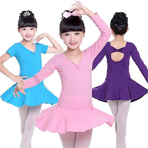 Hoverwin - Tanzkostüm Ballett Gymnastikanzug Tutu klassisch Mädchen Kinder Kleider Röcke Tag der Kinder Bühne mit Langen Ärmeln - geeignet für Höhe 90 - 170 cm, Pink, 3XL