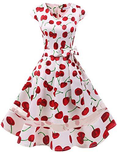 Gardenwed 1950er Vintage Retro Cocktailkleid Cap Sleeves Rockabilly Kleider Damen Schwingen Petticoat Faltenrock White Cherry-XL