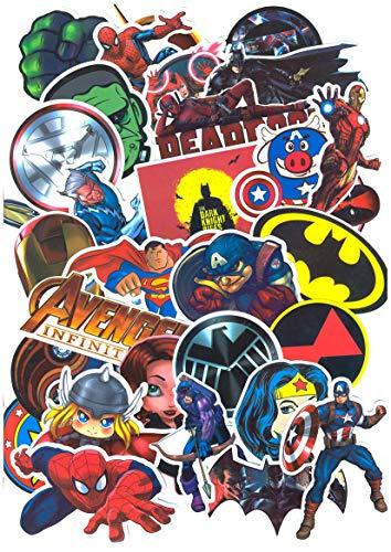 ⭐Top Aufkleber !⭐ Set von 32 Superhelden Aufkleber - Premium Qualität - Vinyls Stickers Nicht Vulgär - Bomb, Graffiti, Superheld, Marvel, Spiderman- Anpassung, Scrapbooking, Bullet Journal