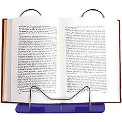Conveniente Ajustable, Durable, Ángulo, Plegable, Portátil, Libro de Lectura, Soporte, Soporte de Documentos, Escritorio, Material de Oficina, Estante de Acero Inoxidable, Base de Plástico, azul
