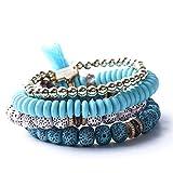 Pinhan Boho Antike Bodhi Perlen Armband Set Modeschmuck Zubehör Geburtstag Mädchen Frauen Dame, blau