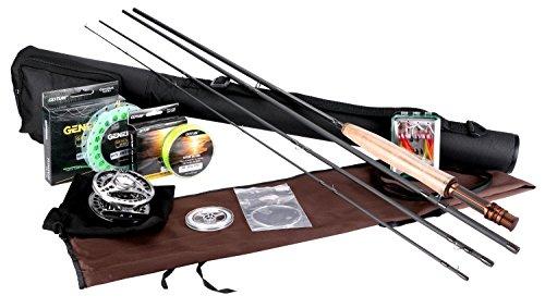Goture Fly Angelrute und Reel Combos Fit Salzwasser Süßwasser 5/6 und 7/8 für Anfänger und Angler mit Fly Line Fliegenköder Full Kit mit Rod Case(Honor Series 5/6) 5-fuß-stahl-stab