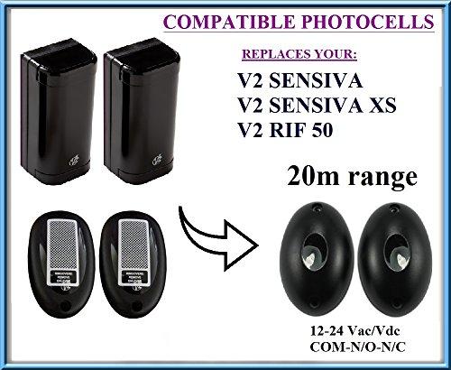 V2RIF50, V2Sensiva, V2Sensiva XS fotocélulas Infrarot kompatibel 12-24V Photocells Liftmaster Security Gate