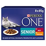 Purina One - Alimento per Gatti, con Pollo e Manzo, Senior 7+, 5x 8x 85 g, 40Buste