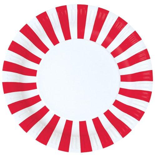 12 runde Party Pappteller in Rot/Weiß von Paper Eskimo (Rot Party Pappteller)