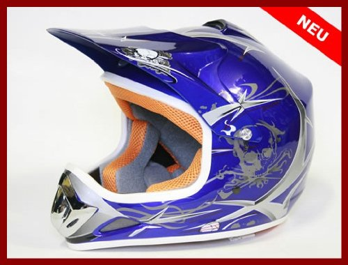 Helm Kinderhelm Motorradhelm Crosshelm Motocrosshelm Sport Blau M (Quads Für Kinder)