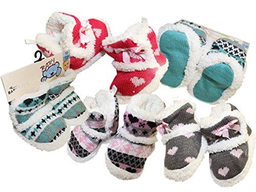 Baby Home Slipper mit Teddyfutter und Norwegermuster sowie textile Antirutschsohle Mint