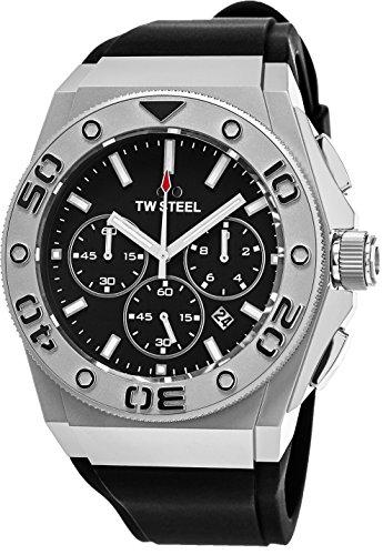 TW Steel Ceo Diver stainless steel Watch–quadrante nero data TW Steel orologio da uomo–Cinturino di gomma nera 44mm cronografo Dive orologio CE5008