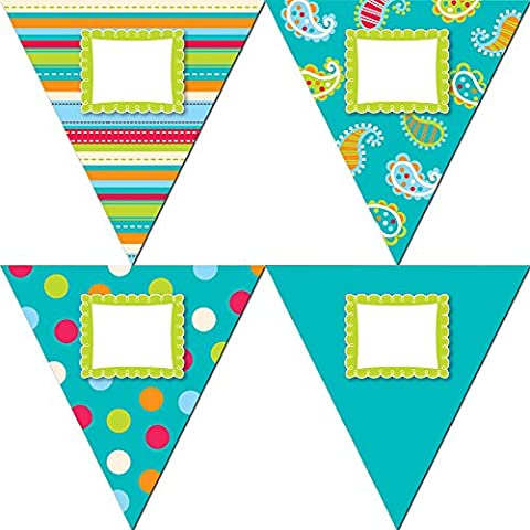 Creative Teaching Press 10-Inch Jumbo Designer Cut-Outs, Dots on Turquoise Pennants (5978)