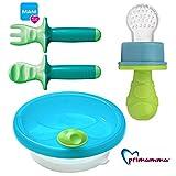MAM Kindergeschirr - Set Neutral Warmhalteteller mit Lernbesteck MAM Dipper Set 6+ & Primamma Fruchtsauger Neutral