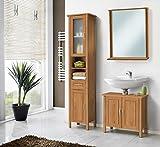 Galdem Badmöbel-Set mit Spiegel Waschbeckenunterschrank Hochschrank Hängeschrank Seitenschrank Badezimmer Weiß (MDF mit Spiegel - Braun)