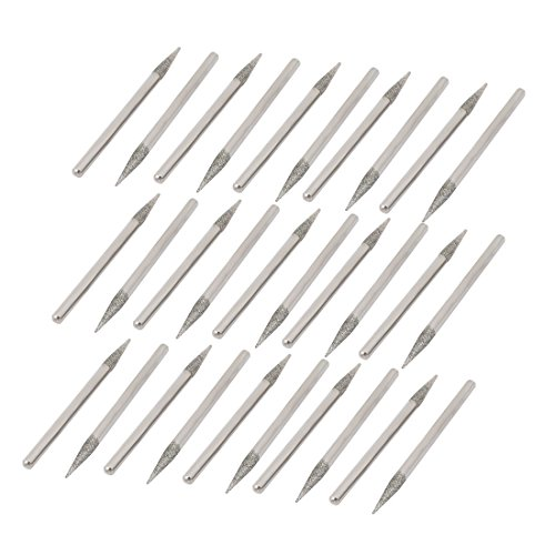 Aexit 30Pcs 45mm Length Shank Nail Drill Bits Diamond Coated Mount Point Silver Tone ID: 373050