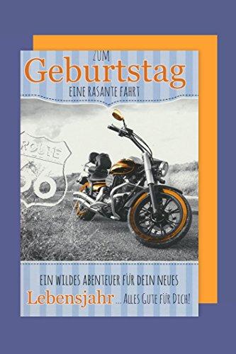 Männer Geburtstag Biker Karte Grußkarte Route 66 Motorrad 16x11cm
