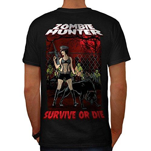 Überleben Jäger Zombie Sexy Dame Herren M T-shirt Zurück | (Jäger Kopflose Kostüm)