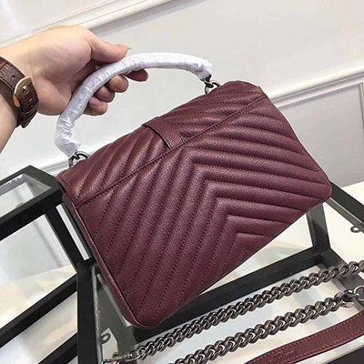 AASSDDFF Mode Kleine Flap Bag Crossbody Taschen Frauen Luxus gesteppte Plaid Ketten Schulter Handtasche Berühmte Marke Design Lady Messenger Bag, Burgund, 24cm (Vintage Tasche Schulter Gesteppte)