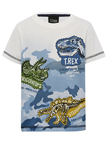 Natural History Museum Kids 100% Cotton Short Sleeve Crew Neck Camo Dinosaur Print T-Shirt