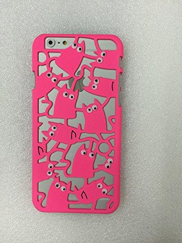 Coque iPhone 6/6s , iNenk® Yeux Will Move chat téléphone coquille percée chaton téléphone Shell caissons creux créatif Etui PC couverture mignon Protection Sleeve-rose Rose rouge