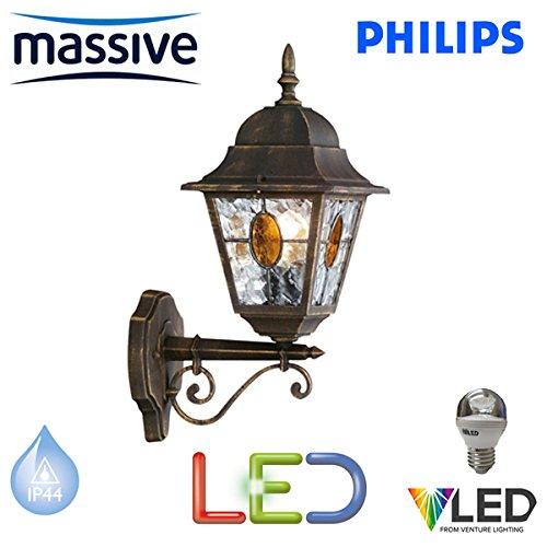 Philips Massive – Munchen d'éclairage mural à LED 5.9 W traditionnel noir et or brossé finition effet extérieur Lanterne Lumière LED – Ampoule – décoratif en verre – Sts
