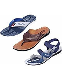 Indistar Boy 100 % PU Flip Flop House Slipper And Sandal- Pack Of 3 Pairs-White/Tan/Blue/Grey