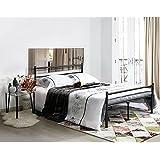 Aingoo Cama doble Marco de cama de metal s¨®lido 135x190, Negro