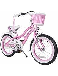 BIKESTAR® Premium 40.6cm (16 pulgada) Bicicleta Premium para los niños mas atrevidos y divertidos de 4 años ★ Edición Cruiser de Lujo ★ Rosa