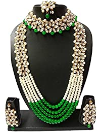 Apsara Art Jewellery Women's Traditional Kundan Necklace-Set With Pearl & Gold Plated Necklace With Earrings Mang...