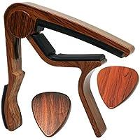MOREYES Gitarre Capo für Akustik Gitarre, Ukulele, E-Gitarre, Bass mit Holz Farbe Gitarre Plektrum Plektron Picks Mirabow color