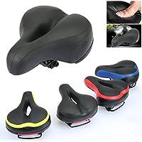 Ondeni® a prueba de golpes asiento de bicicleta asiento de bicicleta más grueso y más amplio gira la silla de montar silla de montar bicicleta de trekking (Negro)