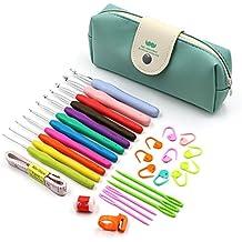 BTSKY Premium luz agarre ergonómico y Kit de ganchillo ganchos de ganchillo agujas de punto de hilo para tejer juego de herramientas organizador funda con bolsa de almacenamiento 30 unidades