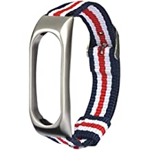 Gusspower Correa de nylon de cinco colores,Banda de repuesto ajustable de nylon ligero Correa deportiva Para XIAOMI MI Band 2 (Plata)
