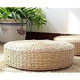 Home-LB - Cojín de tatami para suelo, tejido a mano,   de hoja de maíz, color beige, M(40x11cm)
