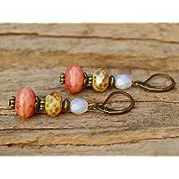 Vintage Ohrringe mit Glasperlen - lachs, khaki & bronze