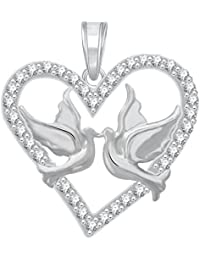 The Marketvilla 925 Sterling Silver Pendent Love Birds in Valentine Heart Shape CZ Pendant Locket Gift For Women, Girls & Baby Girls