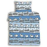 beties Schäfchen zählen Kinderbettwäsche ca. 100x135 + 40x60 cm weiche Biber-Qualität 100% Baumwolle Farbe Himmelblau 1 Set