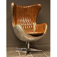 Casa Padrino Art Deco Egg Chair swivel chair Armchair aluminum / leather brown - club (Leather Club Chair)