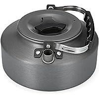 Shuzhen,Pote del café de la Caldera del té Ultraligero portátil 1.1L para Acampar Caminando Comida campestre(Color:Gris)