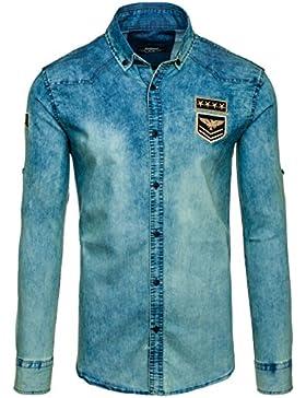 BOLF Hombres JEANS Camisa Con Mangas Largas Camisa Del Ocio Slim Fit 2B2 Motivo