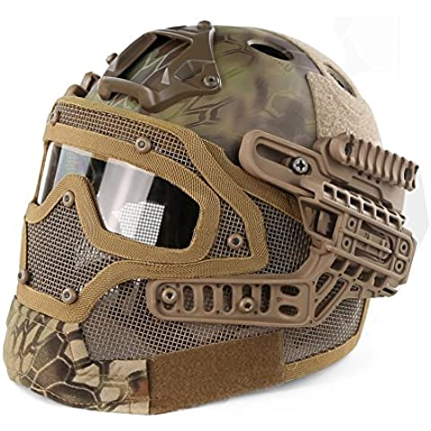 alexsport tipo PJ rápido Molle táctico casco con máscara y gafas para Airsoft Paintball CS al aire libre, MA