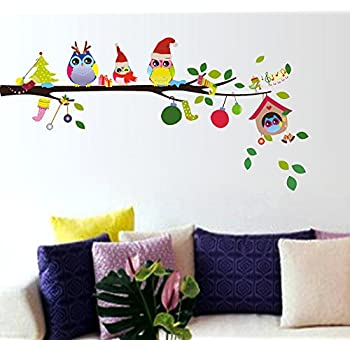 Decals Design StickersKart Wall Stickers Merry Christmas Winter Owls Decor (Multicolor)
