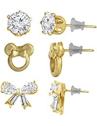 Spargz Alloy Gold Plated Butterfly Flower Multi-Shaped AD Stone Stud 3 Pair Earrings Set For Women AIER 1123