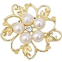 Xuniu Brosche, Hochzeit Brautstrauß Blume Strass Faux Perle Brosche Charme Handwerk Geschenk Gold