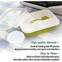 Soledì Bento Box Lunch per Forno e Microonde in Silicone Sano e Food Grade Plastica Trasparentea con 3 Compartimenti 1 Ciotola e Cucchiaio Box di Pranzo per Bambini Adulti Verde