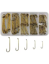 Shaddock pesca® 230pcs 79580para pesca con mosca ganchos filo largo color de té Streamer moscas ganchos Set