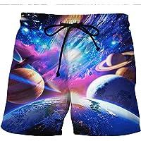 Pantalones cortos de playa de secado rápido de Westtreg Espacio de impresión en 3D Pantalones cortos de tablero de destello de Galaxy Pantalones cortos de Bermudas de estilo Hip Hop de verano Ropa de moda, m, b