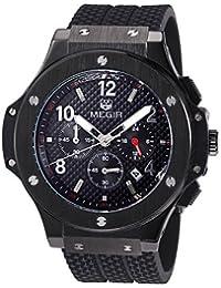 MEGIR Original Quartz Men Watch Big Dial Silicone Sport Military Watches Clock Men Chronograph Wristwatch