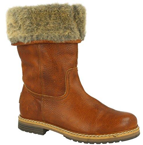 BULLBOXER Damen Winterstiefel 049M76139,Frauen Winter-Boots,Fellboots,Lammfellstiefel,Fellstiefel,gefüttert,Warm,Cognac,EU 41
