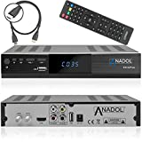 Anadol HD 222 Plus HD HDTV digitaler Satelliten-Receiver (WiFi, HDTV, DVB-S2, HDMI, 2X USB 2.0, Full HD 1080p, YouTube) [vorprogrammiert] inkl. HDMI Kabel – schwarz (Mit HDMI Kabel)