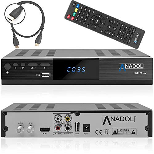 Anadol HD 222 Plus HD HDTV digitaler Satelliten-Receiver (HDTV, DVB-S2, HDMI, 2X USB 2.0, Full HD 1080p, YouTube) [vorprogrammiert für Astra Hotbird Türksat ] inkl. HDMI Kabel - schwarz Cinch-digital-a/v-kabel